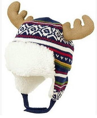 5c35784d7d1 Bigood Bonnet Bébé Enfant Coton Chapeau Cerf Cache Oreilles Chauffant   Amazon.fr  Vêtements et accessoires
