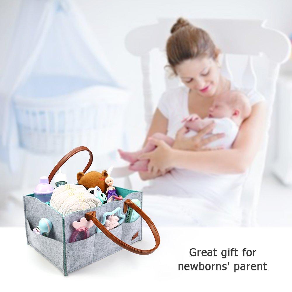 Ayboo Baby Diaper Caddy Organizer Blue Felt Basket Large Capacity Nursery Diapers Organizer for Newborn Nursery Storage Bin for Diapers Car Travel Bag
