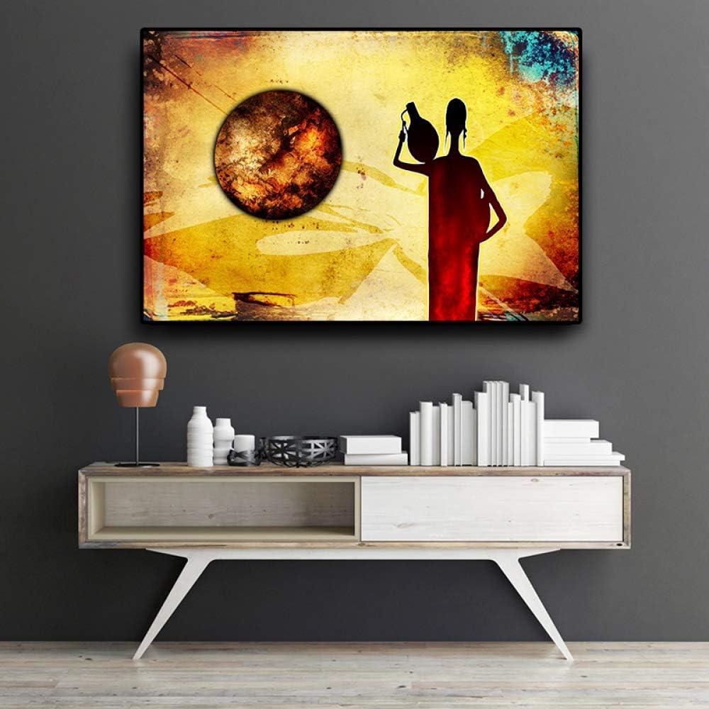 zzxdbh Abstracto Mujer Africana Oro Paisaje Ölgemälde sobre Lienzo Vintage pósteres y Impresiones Cuadros Wandkunst Imagen para salón, Pa1077, 60x80cm no Frame