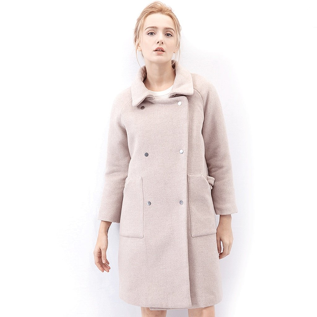LI SHI XIANG SHOP Winter thicking warm medium length coat women's trend dustcoat (Color : Pale pink, Size : L)