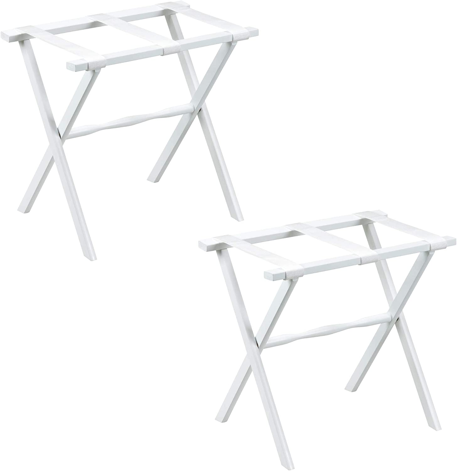 Gate House Furniture 2-Pack White Straight Leg Wood Luggage Rack 3 White Nylon Straps