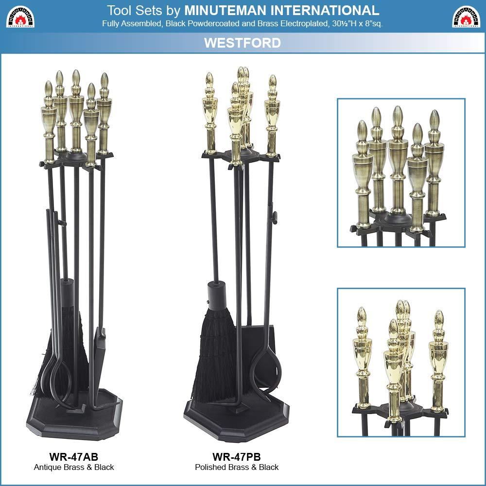 Brass Minuteman International WR-47AB Fireplace Tool Set