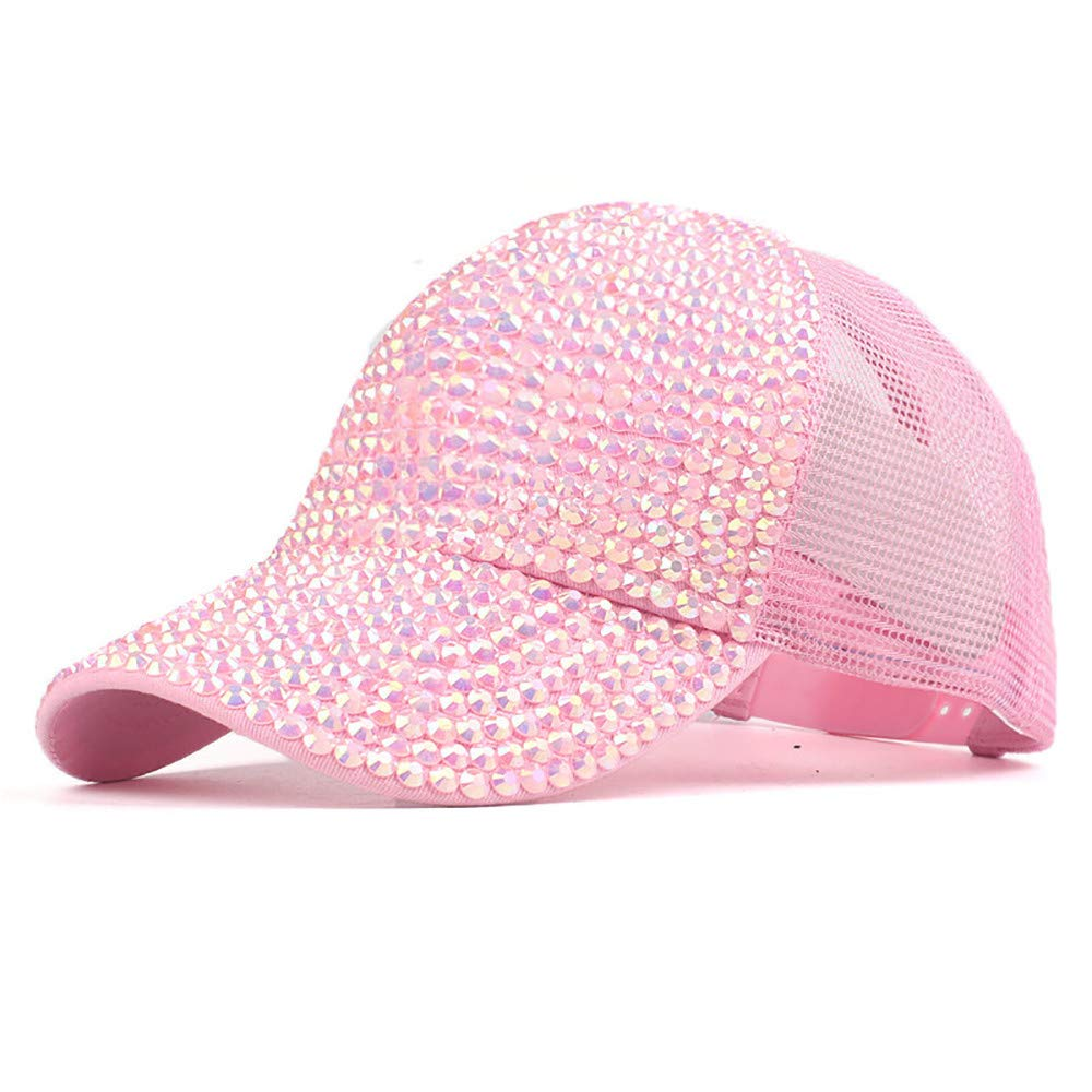 yiqianzhaobiao_Hat YQZB Women Baseball Cap Adjustable Mesh Rhinestone Hats Ponycap Messy High Bun Ponytail Visor Headwear at Amazon Womens Clothing store: