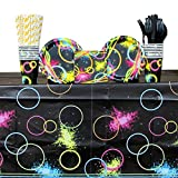 Glow Party Supply Pack for 16 Guests: Straws, Dessert Plates, Cups, Beverage Napkins, Cutlery, and Table Cover