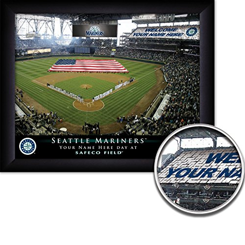 Seattle Mariners Personalized MLB Card Stunt Baseball Stadium with American Flag Framed Print 13x16 Inches
