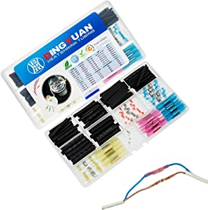 Waterproof Solder Seal Wire Connectors 30pcs Heat Shrink Tubing Butt Connectors 23pcs and 90pcs Heat Shrink Wire Wrap Tubing Kit Insulated Electrical Splices Terminals
