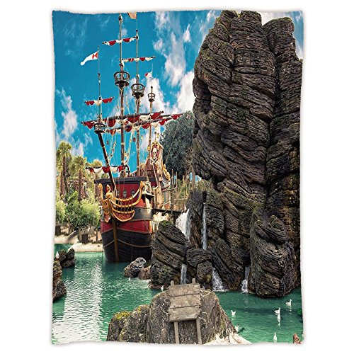 - iPrint Super Soft Throw Blanket Custom Design Cozy Fleece Blanket,Pirate,Big Ancient Ship on Tropical Caribbean Seashore Pirate Island Large Rock Formation,Multicolor,Perfect for Couch Sofa or Bed