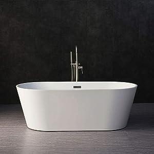 "WOODBRIDGE BTA-1513 67"" Acrylic Freestanding Bathtub Contemporary Soaking Tub with Brushed Nickel Overflow and Drain, B-0013 / BTA1513 White"