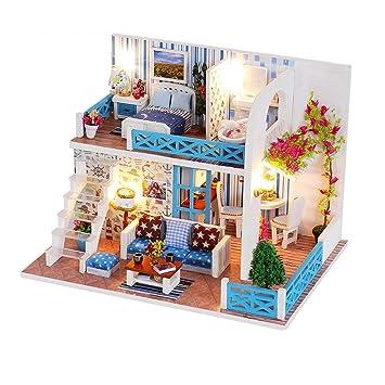 Amazon Com Mybow Diy Dollhouse Miniature Wooden Dollhouse Kit