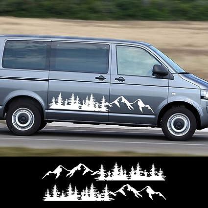 ZYHZJC 2PCS Car Side Door Forest Mountain Paisajes Naturales Pegatinas Accesorios para Volkswagen VW Multivan Transporter T5 T6: Amazon.es: Coche y moto