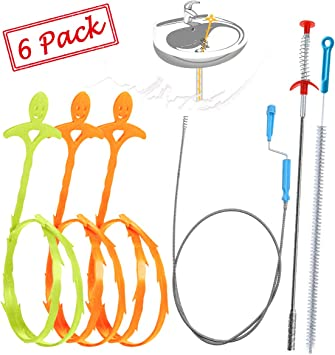 Sink Clog Remover 25 Inch Drain Snake Hair Tool 7 Pack Bathtub Kitchen Cleaner