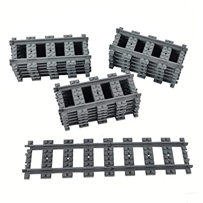 18X Straight Train Tracks Non-Powered Rail Compatible Major Brands City Train Track Railroad Building Toy: Toys & Games