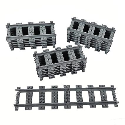 18X Straight Train Tracks Non-Powered Rail Compatible Major Brands City  Train Track Railroad Building Toy