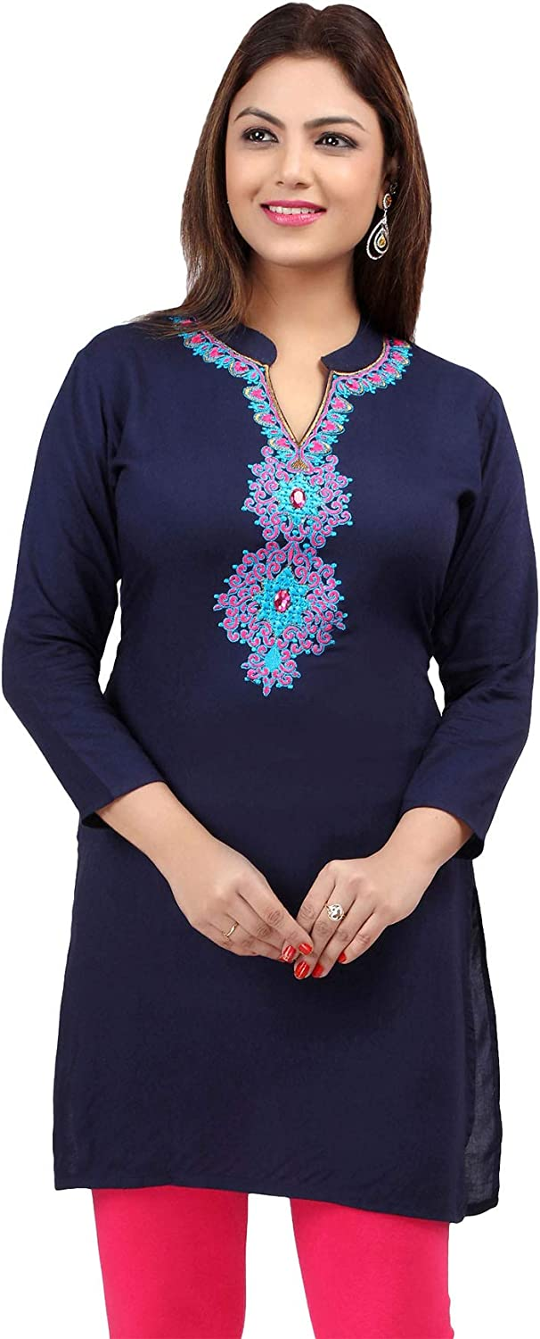 Maple Clothing Rayon Womens Indian Kurtis Tunic Top Embroidered Blouse