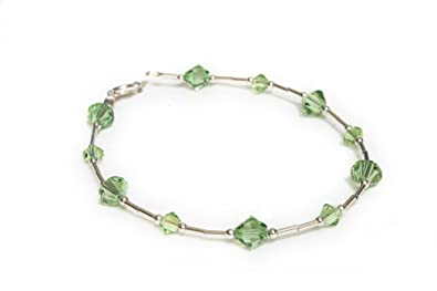 Bracelet Sterling Silver with Peridot Green Swarovski Crystals