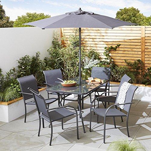 Tesco Valencia Metal 8-Piece Garden Dining Table & 6 Chairs Set with Parasol