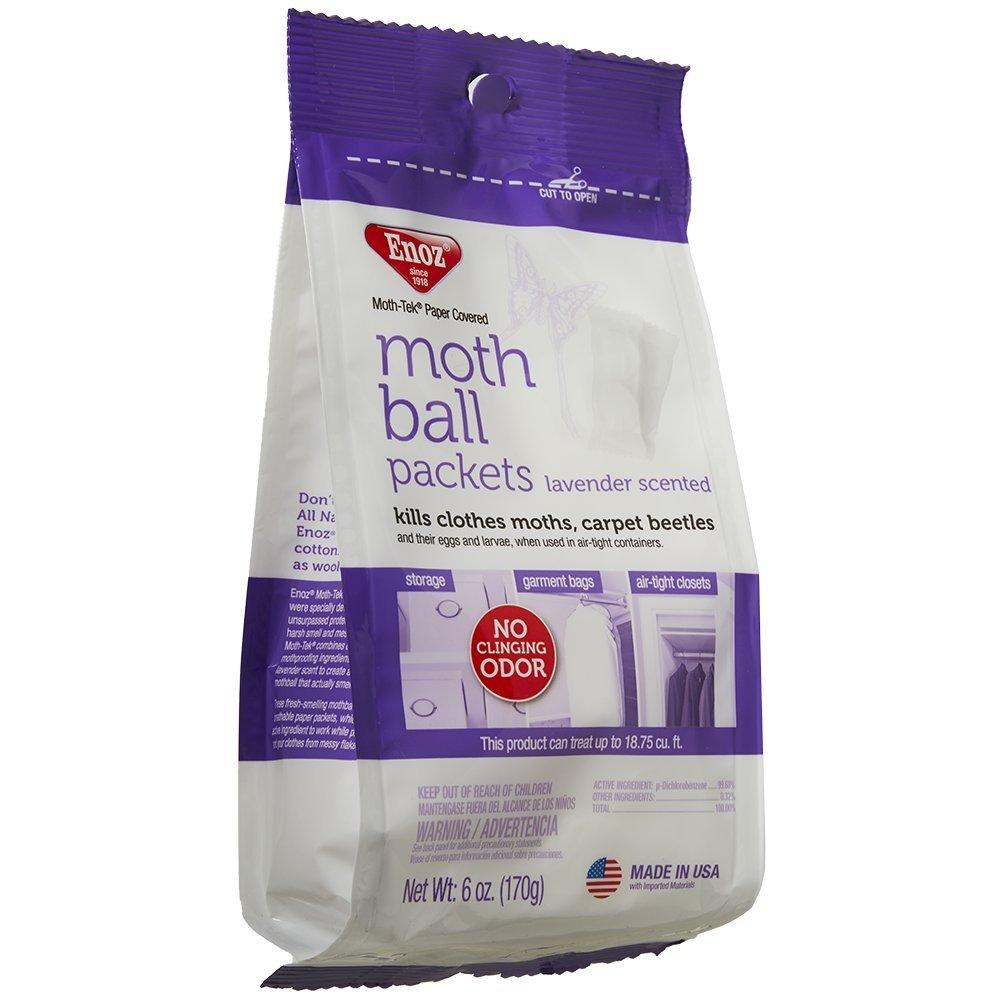 Enoz Moth-Tek Packets Lavender Scent - 6 oz. Bag (6) Kills Clothes Moths, Carpet Beetles, and Eggs and Larvae by Enoz