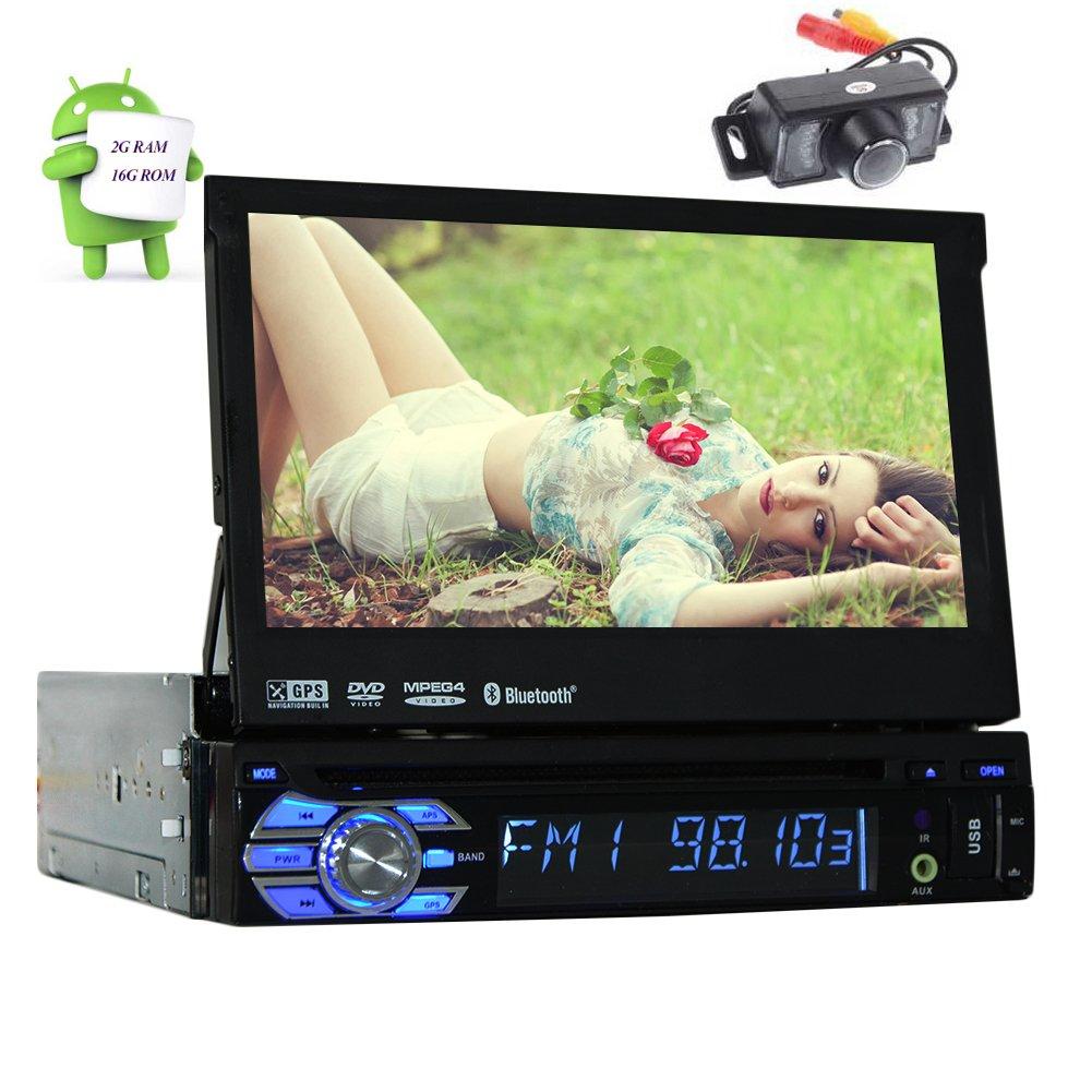 リアカメラ付属!クアッドコアのAndroid 6.0ステレオシステム7  シングルディンカーDVD VCD車プレーヤーのBluetoothオートラジオGPSナビゲーション2GのRAM 16G ROMヘッドユニットのサポートWifiのOBD CAM-でAVのサブウーファー B074P38TNQ