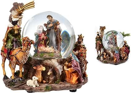 Globo de Água Musical Sagrada Família e Reis Magos 19.5cm