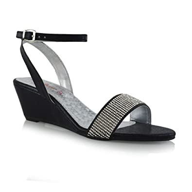 0c59111e157 ESSEX GLAM Womens Ankle Strap Diamante Black Synthetic Leather Wedge Heel  Sandals 5 B(M