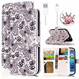 Apple iPhone 5C Cell Phone Case,Vandot 3in1 Set Luxury PU Leather Magnetic Closure Flip Folio Stand Wallet Card Slots Case Colorful Printing Painting Anti-Scratch Pattern Cover Skin+Shining Owl Anti Dust Plug+Micro USB Cable-Butterfly Flower