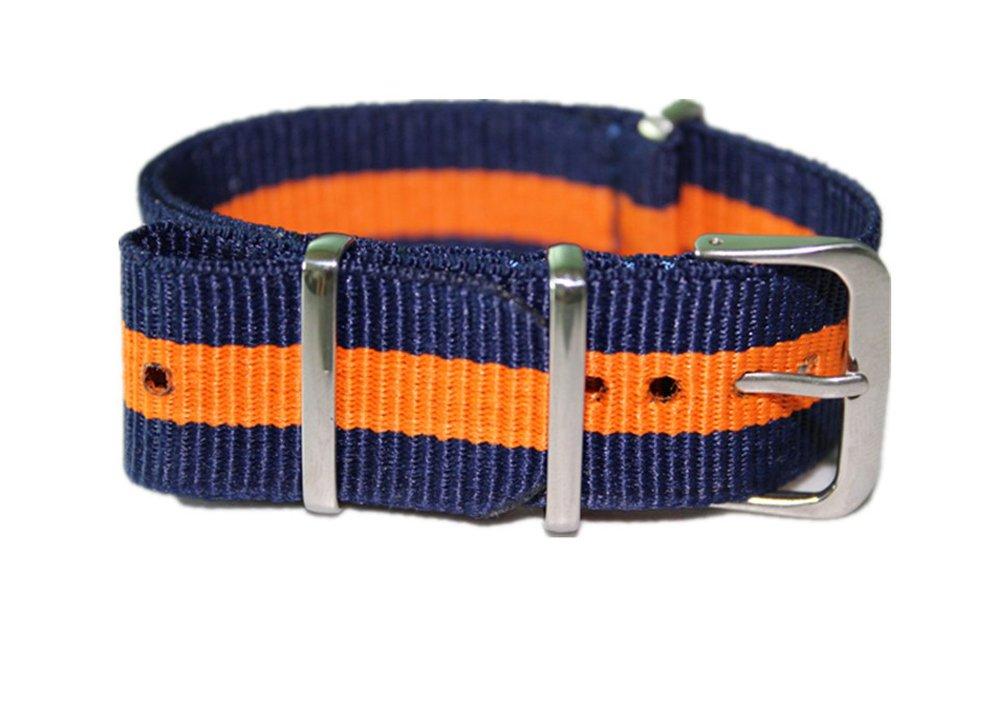 Watch Bandsキャンバス生地リストバンドBallisticナイロン腕時計ストラップ18 mm 20 mm 22 mm 18 ブルー/オレンジ 18 ブルー/オレンジ ブルー/オレンジ 18 B0749LD5GP