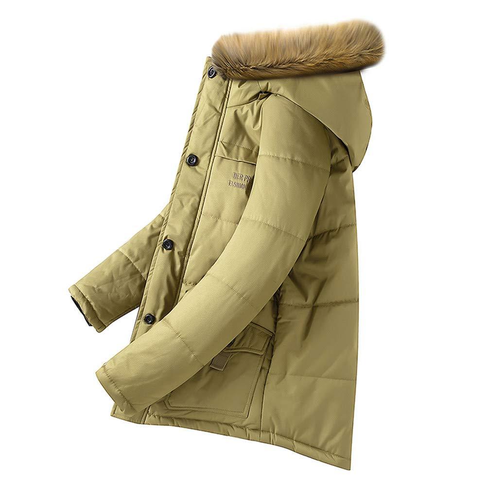 Balakie Mens Plus Size Warm Thick Coat Faux Fur Hood Zipper Down Jacket Outwear