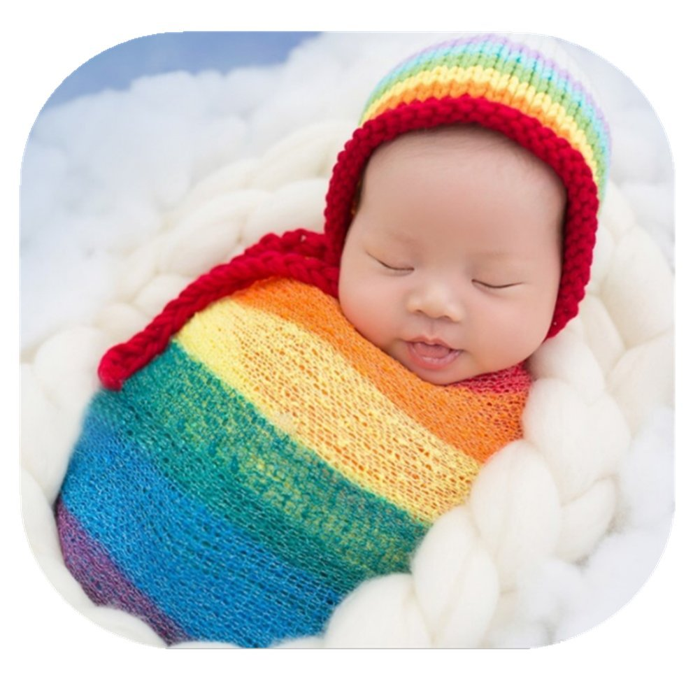 Newborn Baby Photo Props Boy Girls Blanket Backdrop Rainbow Wrap Cloth Photo Shoot Outfits Baby Photography Props (Hat and wrap Cloth)