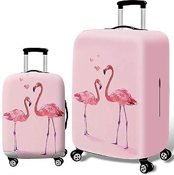Animal Brid Flamingo Orange Pattern Print Travel Luggage Protector Baggage Suitcase Cover Fits 18-21 Inch Luggage