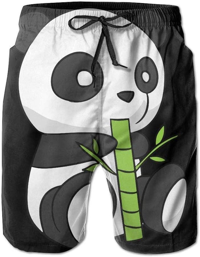 Cartoon Panda5 Mens Fashion Boardshorts Slim-Fit Swim Trunks with Pockets
