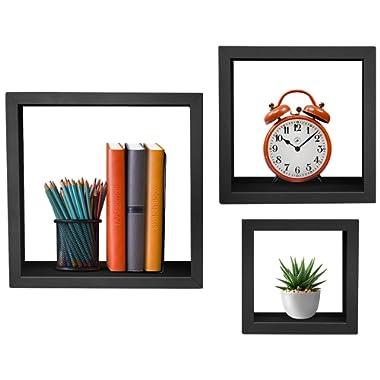 Sorbus Floating Shelves — Hanging Wall Shelves Decoration — Perfect Trophy Display, Photo Frames (Black)