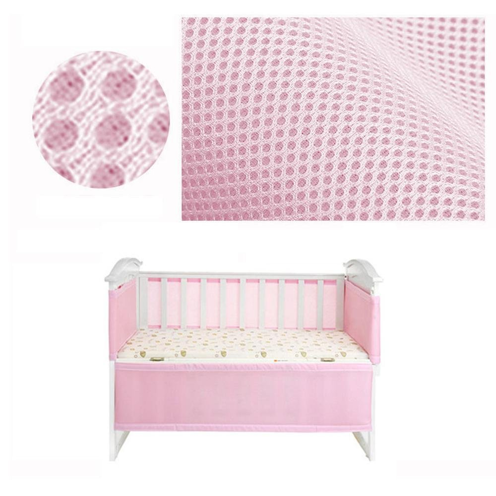 Crib Bumper Mesh Crib Liner Breathable Crib Bumper Padded Crib Liner Pink - 2Pcs(340cm 160cm) for 2 Sections, Suitable for of Cribs, Prevents Babies from Getting Stuck in Crib Slats Aolvo
