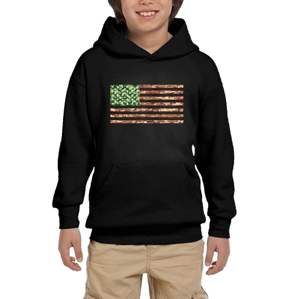 Youth Black Hoodie USA American Flag Cool Camouflage Patriotic Hoody Pullover Sweatshirt Pocket Pullover For Girls Boys L by Hapli