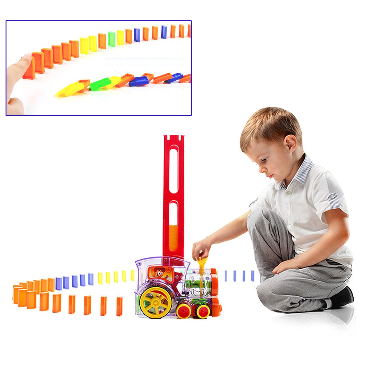 a birthday gift domino car with acousto-optic automatic pendulum chess pieces An electric car a gift Jollymap Child intelligence Domino electric train