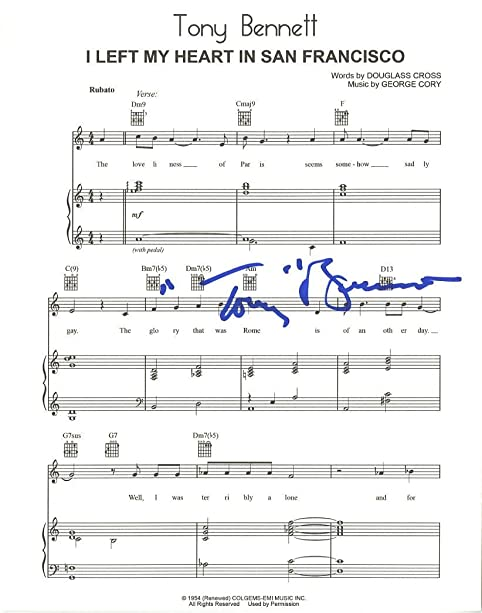 Tony bennett autographed i left my heart in san francisco sheet tony bennett autographed quoti left my heart in san franciscoquot sheet music ccuart Image collections