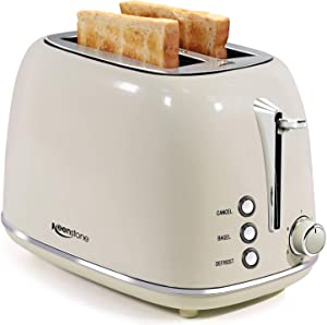Toasters 2 Slice Retro Stainless Steel Toasters with Bagel, Cancel, Defrost Function and 6 Bread Shade Settings Bagel Toaster, Beige