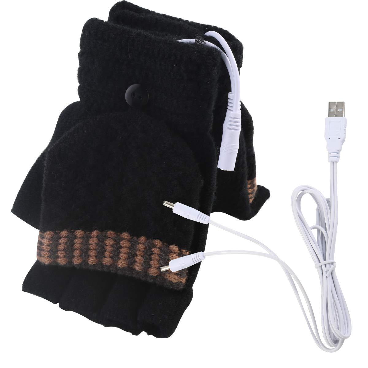 0b9429eb096 Unisex Women s   Men s USB Heated Gloves Mitten Winter Hands Warm Laptop  Gloves