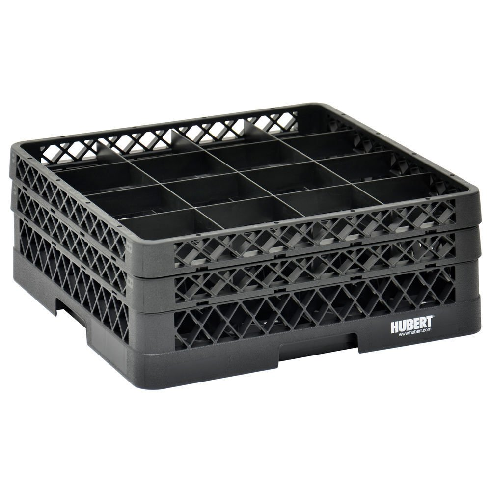 Vollrath Traex Black Plastic 16 Compartment Dishwashing Rack With Two Open Extenders - 19 3/4 L x 19 3/4 W x 7 1/8 H