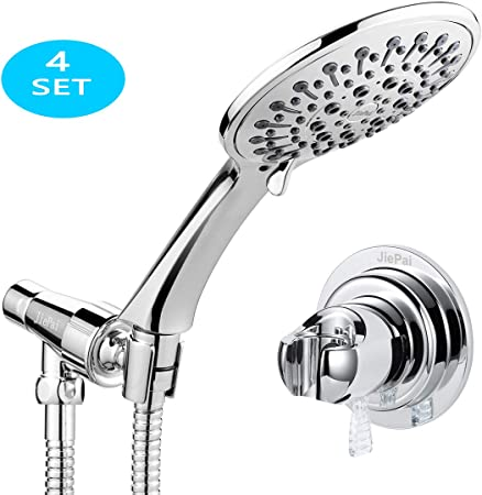 Chrome 5 Modes Handheld Shower Head Set Kit with Flexible Hose Pipe and Bracket