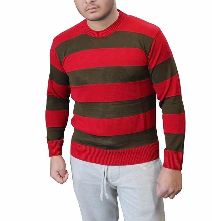 a84c2bb76c2 F F Mens Freddy Red   Green Stripe Knitted Jumper Hat Glove Fancy Dress  Costume (XL