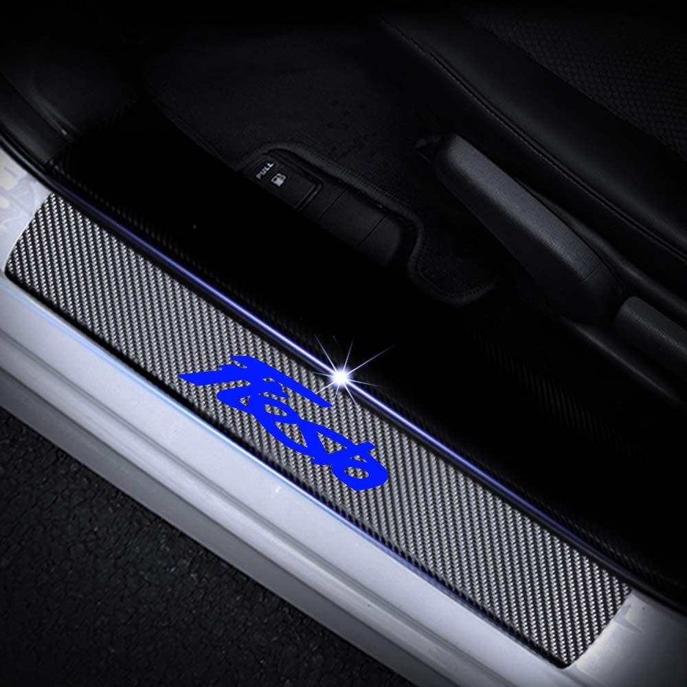 L/&U 4 Pezzi in Fibra di Carbonio 4D Sportello dauto davanzale Riflettente Protector Entrata Guardia dello Scuff del davanzale Adesivi a Piastre di Ford Fiesta,Blu