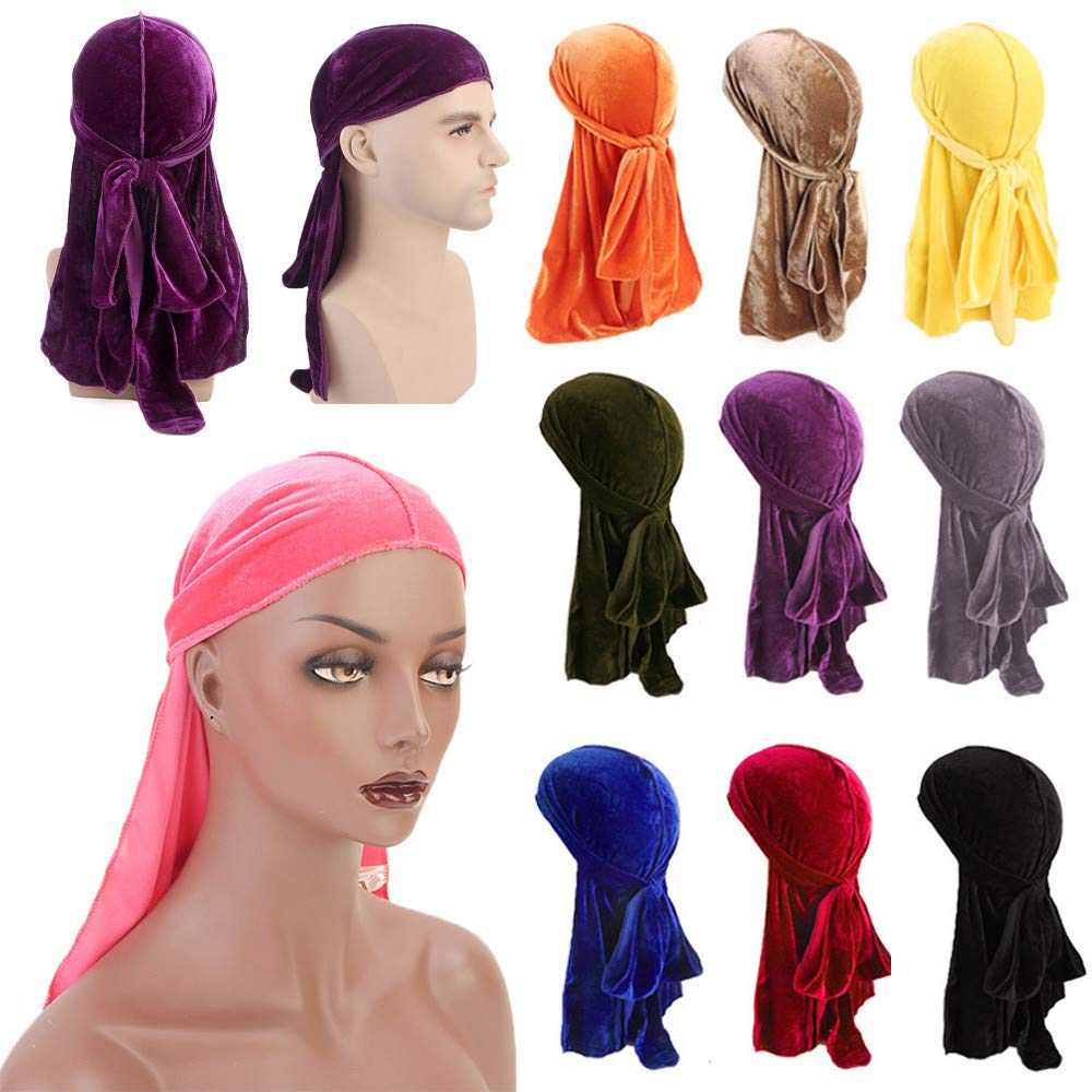 Diadia Fashion India Hat Muslim Turban Cancer Hat Hair Tail Men//Women Velvet Polyester Bandana Hat Durag Rag Tail Headwrap Headwear Gift Red