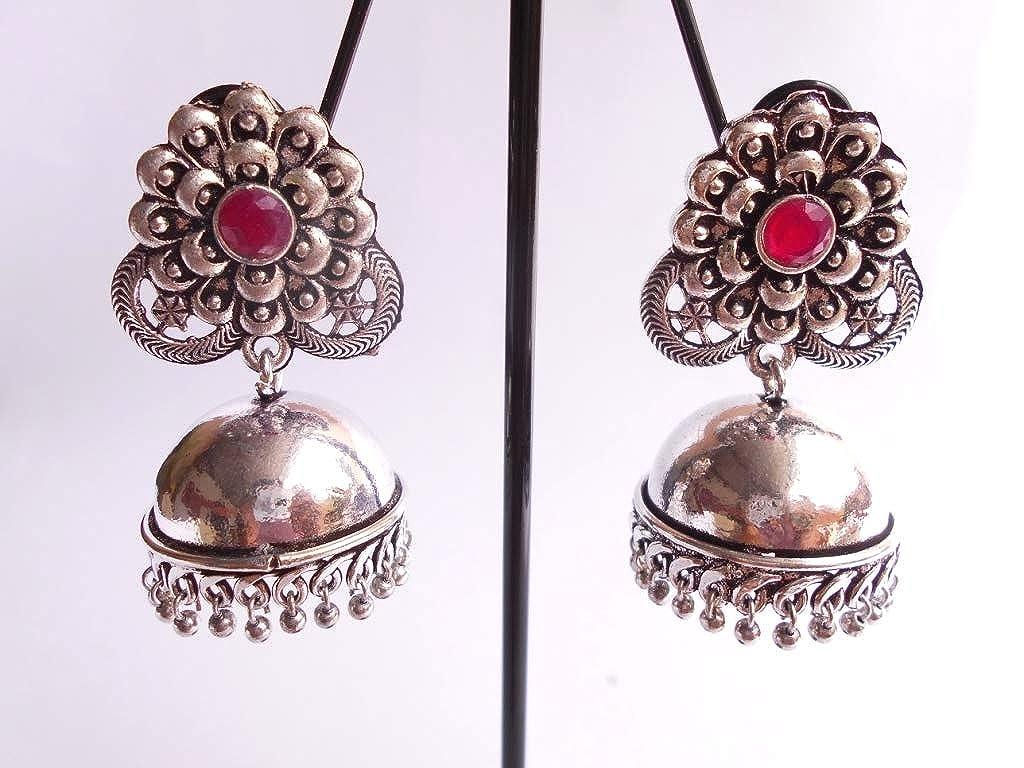 Ethnic .925 Silver Plated Oxidized Semi Precious Jhumka Jhumki Earring GS30