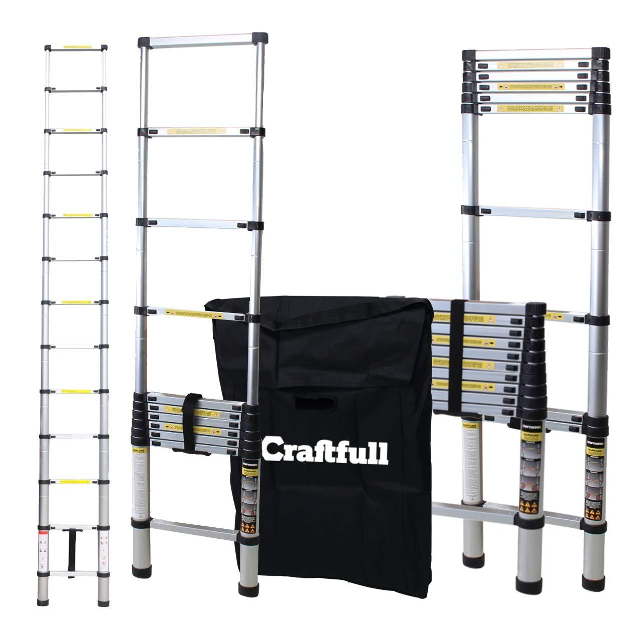 Craftfull Aluminum SOFT CLOSE Teleskopleiter inkl. Tragetasche - in 2/2, 6/2, 9/3, 2/3, 8/4, 1/4, 4 Meter - Mehrzweckleiter - Stehleiter - Aluminiumleiter - Leiter - Schiebeleiter - Aluleiter (2.6 Meter)