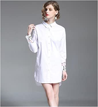 SONGQINGCHENG Mujer Primavera Verano De High-End Bordado Camisa Blanca Pista Vestido Suelto Plus Size Vestimenta Casual,Blanca,XL: Amazon.es: Ropa y accesorios