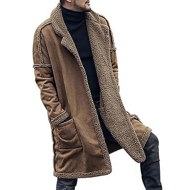 Hombre Manga Larga Abrigo Moda Color Sólido Casual Chaqueta con Bolsillos Hombres Cálida Abrigo Chaqueta Streetwear para Invierno y Otoño Tallas Grandes: ...