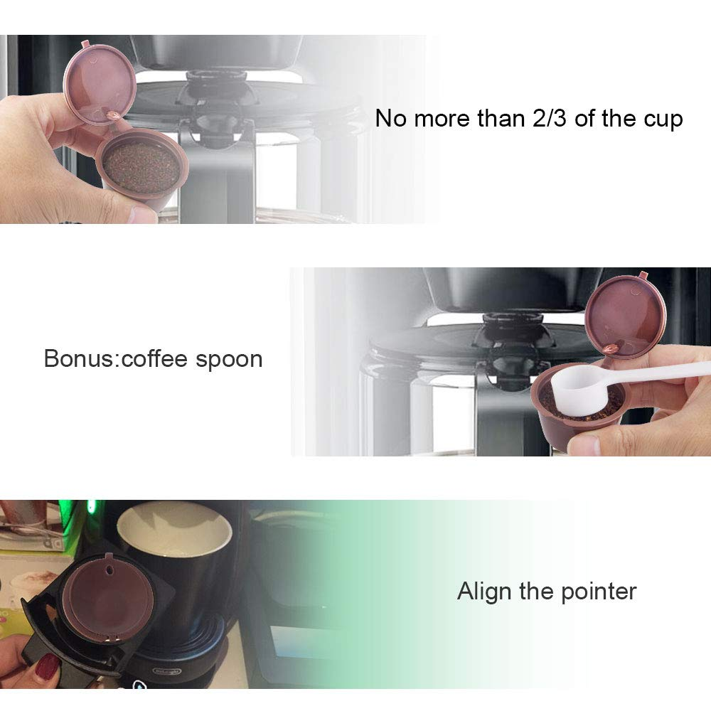 7 stars Filtros Cápsulas de Café puede rellenar reutilizar para Dolce Gusto Cafetera fuerte al menos 160 veces de usos para reemplazo,3 pcs con 1 ...