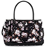 Diaper Tote Bag, BRINCH Stylish Rose Floral Multi-function Shoulder Baby Diaper Bag Portable Diaper Purse Organizer for Girl/Boy with Changing Pad,Stroller Straps & Insulated Pocket,Black-Rose