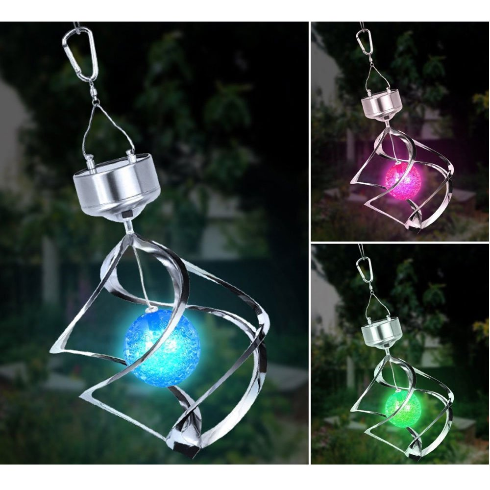 Colour Changing Wind Spinner Solar Light Saturn Lantern Powered Color LED Outdoor Hanging Garden Chime Light Decorate Lamp Elitezotec®