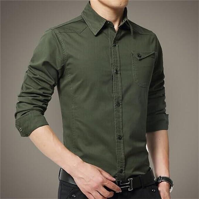 Rcdxing Camisa de manga larga verde oliva del ejército Camisa de hombre delgada para Hombres Ropa (Color : As Shown, tamaño : XXL): Amazon.es: Ropa y accesorios